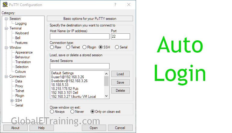 Auto login withPutty